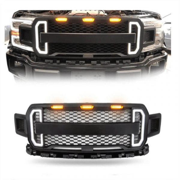 2018-2020 Ford F150 Grill Ford Raptor Grill with Amber Lights