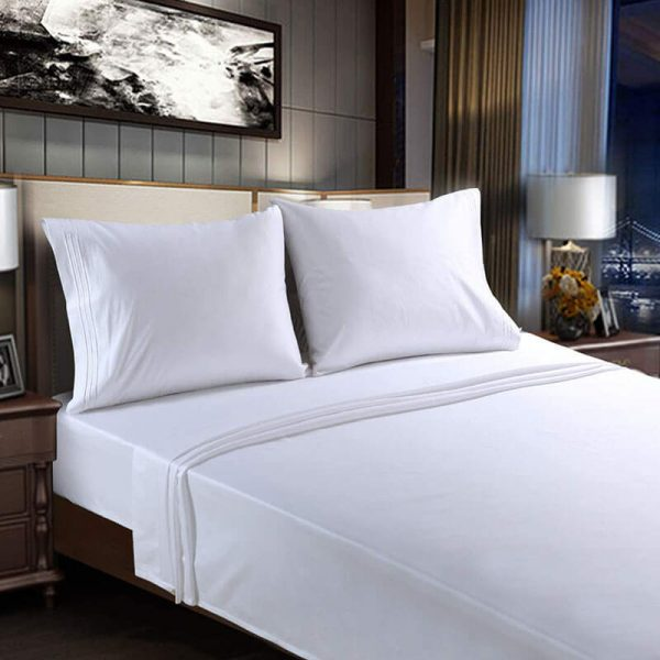 4 Pices King Size Bed Sheets white sheets