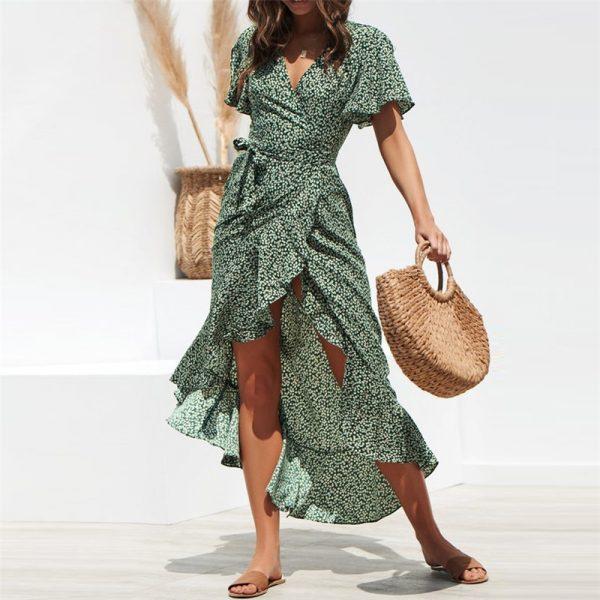 green boho maxi dress