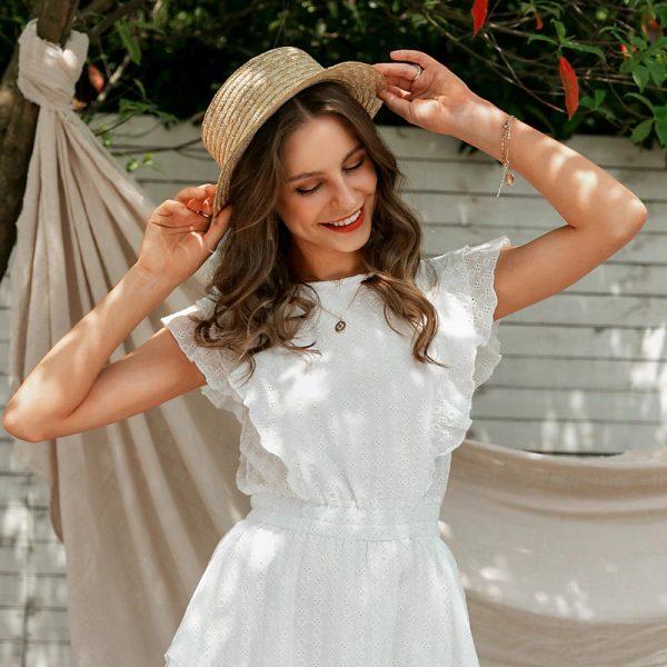 White Boho Mini Dress with Ruffles